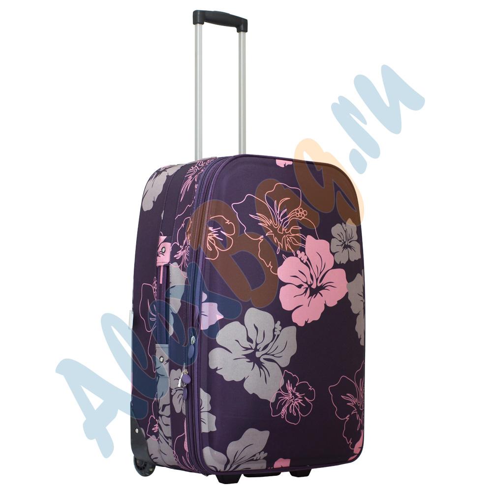 1f3776f66838 Большой дорожный чемодан «Parma» фиолетовый с цветками на двух колёсиках